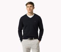 Kompakter Baumwoll-pullover Mit V-ausschnitt