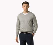Pullover Aus Baumwoll-seiden-mix Mit V-ausschnitt