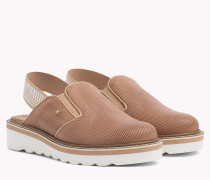 Perforated Leather Slingback Shoes