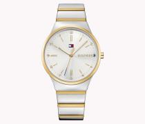 Zweifarbige Armbanduhr Aus Edelstahl