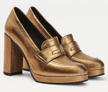 Metallic Loafer mit hohem Absatz