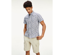 Slim Fit Kurzarm-Hemd mit Blumenprint