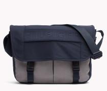 Zweifarbige Messenger-Tasche mit Klappe