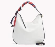 Satin Foulard Leather Hobo Bag