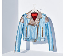 Lederjacke in Metallic-Optik