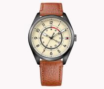 Schwarzplattierte Armbanduhr aus Stahl