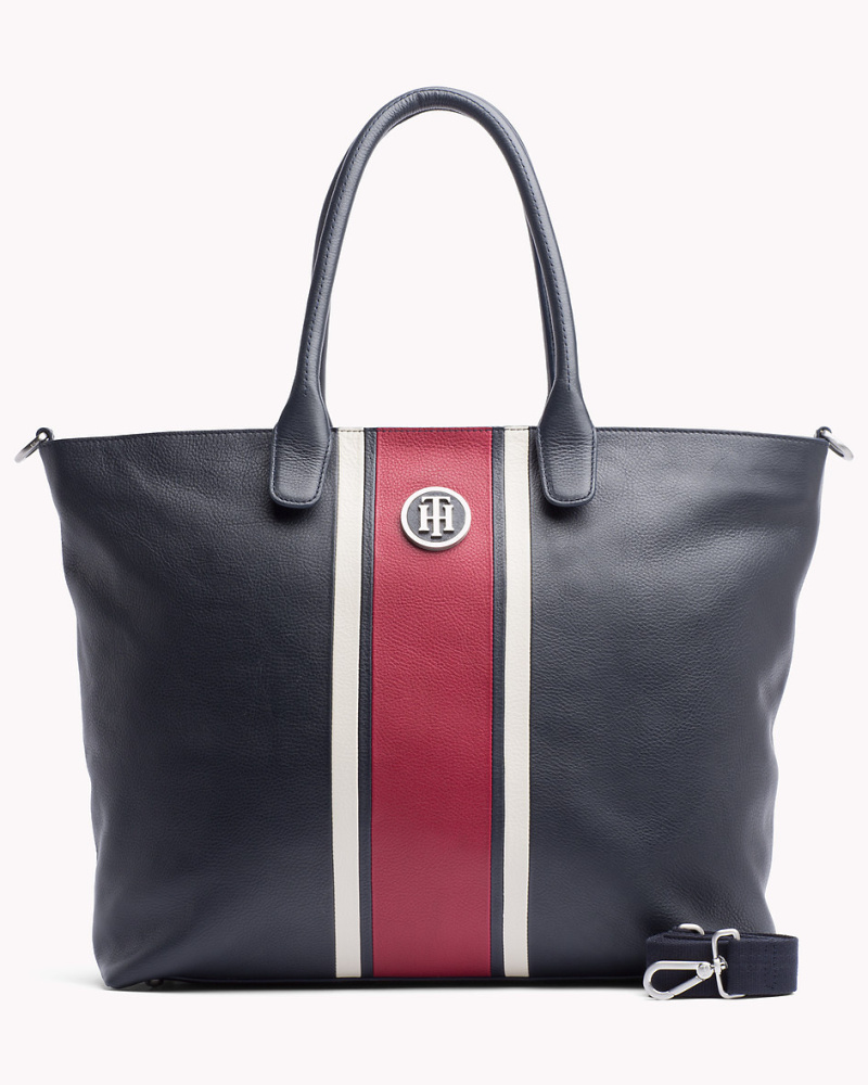 tommy hilfiger damen tote bag aus genarbtem leder reduziert. Black Bedroom Furniture Sets. Home Design Ideas