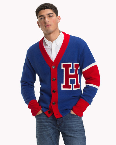 Varsity Oversize-Cardigan aus reiner Wolle