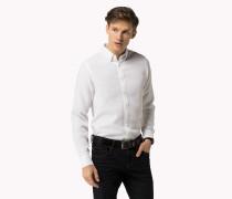 Slim Fit Baumwollhemd Mit Dobby-webmuster