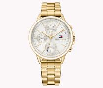 Goldplattierte Armbanduhr Aus Edelstahl