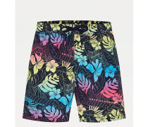 Slim Fit Badeshorts mit tropischem Logo