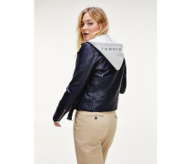 Biker-Jacke aus Leder mit Kapuze