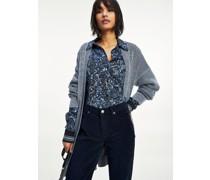 Regular Fit Popeline-Bluse mit Blumen-Print