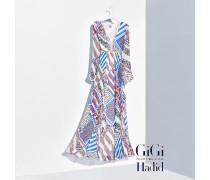 Maxikleid aus reiner Seide mit Print von Gigi Hadid