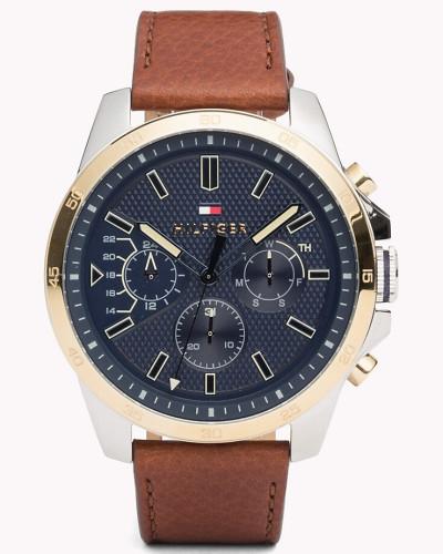 Decker Armbanduhr mit braunem Leder