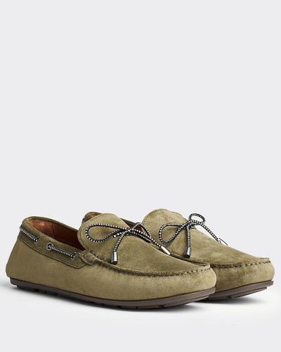 Wildleder-Loafer mit Zierschnürung