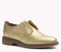Leder-Loafers in Metallic-Optik