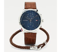 Geschenkset mit Kroko-Optik-Uhr und Armband