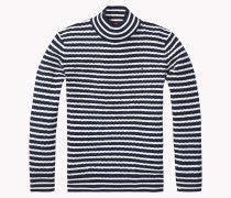 Gestreifter Rollkragen-sweater