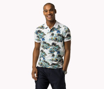 Slim Fit Poloshirt aus Flammgarn-Jersey