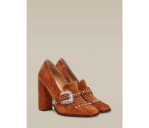 Wildleder-Wappen-Loafer mit hohem Absatz