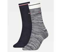 2er-Pack gerippte Stretch-Baumwoll-Socken