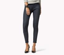 Skinny Fit Hose aus beschichteter Baumwolle