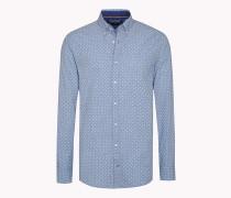 Tailliertes Hemd aus Popeline mit Print