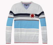 Baumwoll-Pullover mit V-Ausschnitt