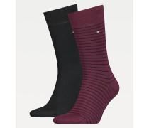2er-Pack gestreifte, kurze Socken