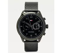 Runde Armbanduhr mit Gliederarmband