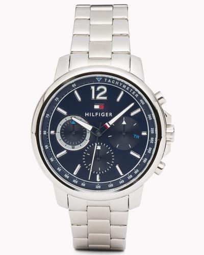 Edelstahl-Armbanduhr mit drei Zifferblättern