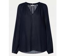 Gestreifte Viskose-Bluse mit V-Ausschnitt