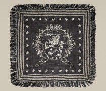 Wappen-Schal aus Woll-Seidenmix