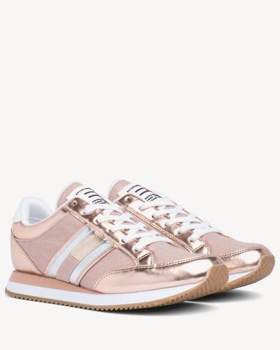 Metallic Sneaker mit seitlichen Streifen