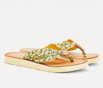 Monogramm-Zehentrenner mit Leder-Fußbett
