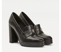 Leder-Loafer mit hohem Absatz