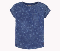 Baumwoll-t-shirt Mit Bateau-ausschnitt