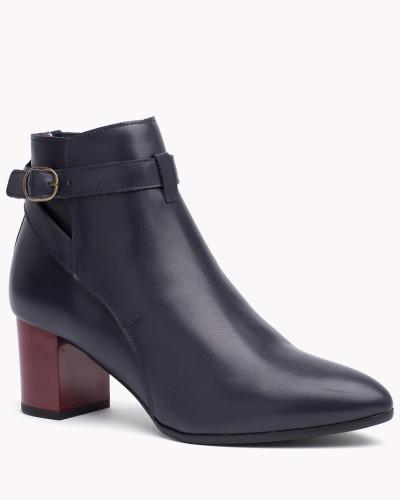 tommy hilfiger damen ankle boots aus leder mit absatz 30. Black Bedroom Furniture Sets. Home Design Ideas