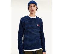Rippstrick-Pullover mit Tommy-Badge