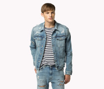 Denim-Bikerjacke im Destroyed-Look