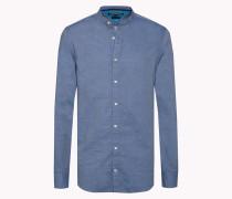 Tailliertes Baumwoll-hemd Mit Dobby-webmuster