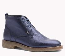 Leder-Ankle Boots in Metallic-Optik