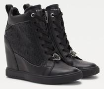Metallic Sneaker mit Monogramm und Keilabsatz