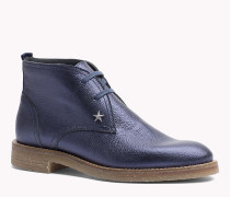 Leder-Ankle Boots in Metallic-Optik