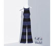 Gestreifter Viskose-jumpsuit Von Gigi Hadid
