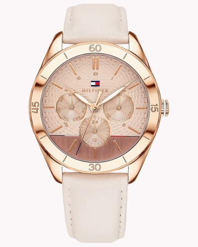 Rosévergoldete gemusterte Leder-Armbanduhr