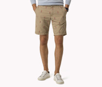 Bedruckte Regular Fit Shorts Aus Baumwoll-canvas