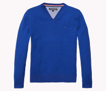 Tommy Baumwoll-Pullover mit V-Ausschnitt