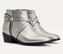 Metallic Stiefelette aus Leder mit Nieten